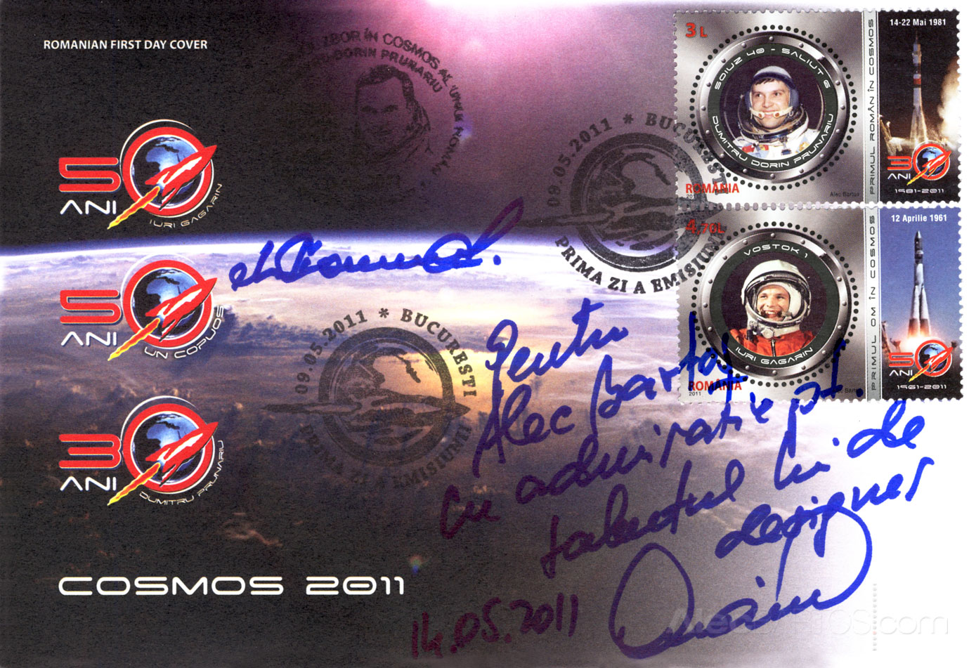 First Day Cover with Prunariu's signature and dedication